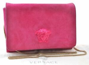 Authentic VERSACE Medusa Motif Suede Chain Shoulder Cross Body Bag Pink C7329