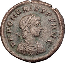 HONORIUS w Globe & Labarum 393AD Cyzicus Authentic Ancient Roman Coin i63580