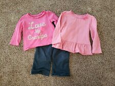 Toddler Girl Clothes 18 Months, Pink Long Sleeve Tops, Comfy Jeans