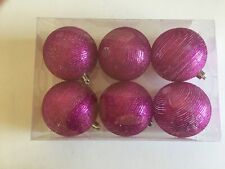 6 Hot Pink Glitter Rings Christmas Shatter Resistant 3 Inch Ornament Decorations