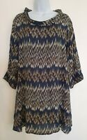 Womens Masai Clothing Company Blue Oversized Lagenlook Tunic Top With Pockets M.