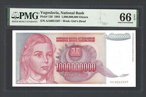 Yugoslavia 1000000000 Dinara 1993 P126 Uncirculated Grade 66