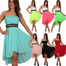 Damen Sommer Chiffon Kleid Bandeau Vokuhila Clup Cocktail Party Festlich Abend