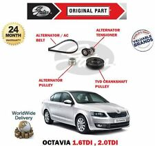 FOR SKODA OCTAVIA 1.6 2.0 TDI ALTERNATOR FAN BELT + TENSIONER + TVD + PULLEY KIT
