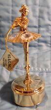 Swarovski Crystal Ballerina Dance Gold Musical Figurine Wind Beneath My Wing Ex