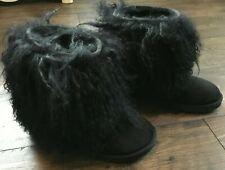 UGG Black Lida Mongolian Sheepskin Short Boots size: 6