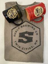 Lot/2 Rare Surly Brewing/Surly Nation Deneen Pottery Mugs 2016 w/Xl Surly Tshirt