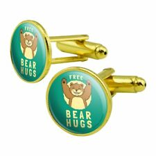 Free Bear Hugs Funny Humor Round Cufflink Set Gold Color