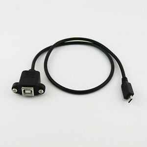Micro USB 5 Pin Male Cable to USB 2.0 B Female Socket Printer Panel Mount 1.5ft