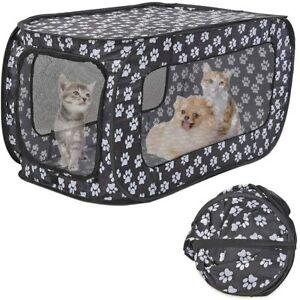 Portable Dog Puppy Playpen Outdoor Indoor Cat Pet Tent Rectangular Paw Print Med