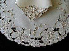 Rare Round 16pc Vtg Madeira Cutwork Linen Placemats Unused Hand Embr Pristine
