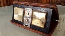 Vintage Japan Travel Clock Radio In Leather Hard case