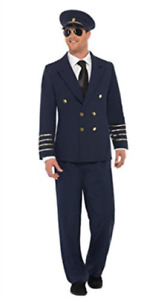 Pilot Costume, Navy Blue, with Jacket, Trousers & Hat -  (Size: Che.. COST-M NEW