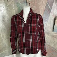 Talbots Red Plaid Button Down Long Sleeve Buttondown Blouse Womens Top SZ XS