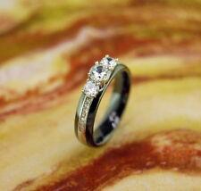Black Ceramic CZ Ring 5MM,Wedding Band,Engagement,Promise,Anniversary,Comfort Fi