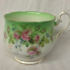 ROYAL ALBERT GREEN & WHITE FOOTED CUP PINK ROSES BLUE FLOWERS