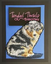 "Australian Shepherd Dog, Puppy, Embroidered Patch 4.4""x 4.6"""