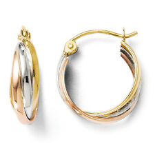 Leslies 14k Tri-Color Tri-Color Polished 5mm x 15mm Hinged Hoop Earrings