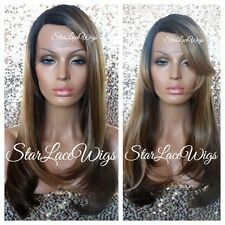 Long Straight Lace Front Wig Ombre Mixed Blonde Highlights Layers Heat Safe Ok
