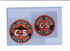 C & S Chicago & Southern Airlines @1940 original luggage labels lot of 2
