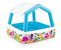 Intex Inflatable Ocean Scene Sun Shade Kids Swimming Pool With Canopy | 57470EP
