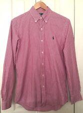 Polo Ralph Lauren Mens Red Plaid Custom Fit Shirt S 100% Cotton