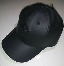 adidas Originals Relaxed Fit Pu Leather Strapback Cap, Black, One Size, 0010