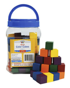 Learning Advantage Wooden Cubes, 1 Inch, Assorted Colors, Set of 102