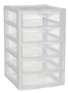 Sterilite CLEARVIEW SMALL 5-DRAWER UNIT 21.6x18.4x28.3cm Built-In Handles
