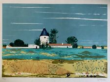 Mystery artist pencil signed country landscape LE 199/275 lithograph
