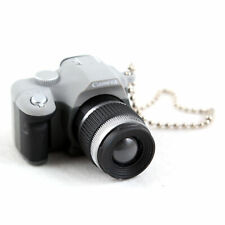 Mini Gray SLR Camera Toy Keychain Keyring Flash Torch Ornament Decoration