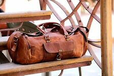 New Men genuine Leather large vintage duffle travel gym weekend overnight bag