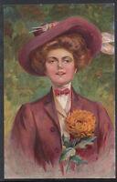 Glamour Art Postcard - Artist E.H.Kiefer, - I Love a Lassie - Elegant Lady RT244