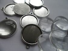 NEW 10 x 18mm Pendant Making kit~10 Silver Settings 24x21x2mm  18mm Cabochons .
