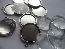 NEW 10 x 18mm Pendant Making kit~10 Silver Settings 24x21x2mm  18mm Cabochons .