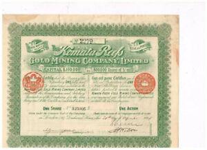 Komata Reefs Gold Mining Co. Ltd., London 1898, VF - see scan