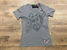 Under Armour UA Pittsburgh Pirates V-Neck Baseball Shirt Gray Black Womens SZ S