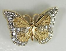 """14K Yellow White Gold Butterfly Pendant Diamond Accents 5/8"""""""