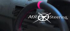 Se adapta a Renault Megane 95-03 Cubierta del Volante Cuero Negro + Correa de color de rosa caliente