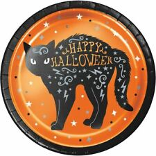 """Wicked Witch Cat Foil 8 Ct Halloween 7"""" Dessert Cake Plates"""