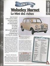 VOITURE WOLSELEY HORNET Mk II - FICHE TECHNIQUE AUTO 1961 COLLECTION CAR FRANCE