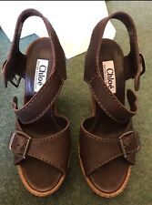 STUNNING CHLOE 60th ANNIVERSARY CHOCOLATE LEATHER WEDGE SANDALS Size 37.5 BNIB