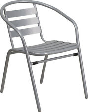 Silver Metal Restaurant Stack Chair With Aluminum Slats, Outdoor, Patio, Deck