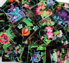 Glass Mosaic Tiles - Bright Flowers On Black Mixed Designs 1 Inch Squares Mosaic