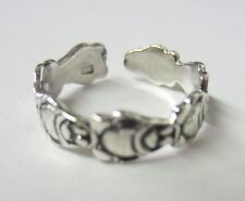 2pcs Solid 925 Sterling Silver Adjustable Toe Ring Oxidized Jewelry