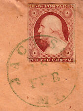 "#11A - 3 Cent 1851-57, 63L3 Green ""JACKSON/16/FEB/MI."" CDS, Chase notation"