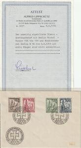 Berlin FDC Ersttagsbrief MiNr. 106-109 mit Attest Lippschütz