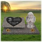 Grabstein Grabplatte Gedenkstein Granit  ►Kreuz + Text Gravur◄ 60x40 cm  - gg66s <br/> ► inkl.Rückplatte, Bodenplatte, Stützen, Engel, Rosen ◄