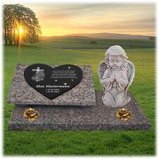 Grabstein Grabplatte Gedenkstein Granit  ►Kreuz + Text Gravur◄ 60x40 cm  - gg66s