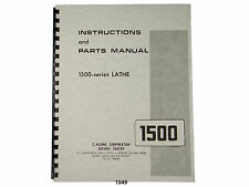 "Clausing 14"" Series 1500 Lathe Instruction & Parts Manual *1049"